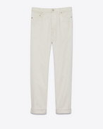 SAINT LAURENT Baggy D Baggy worn-look jeans in white denim f