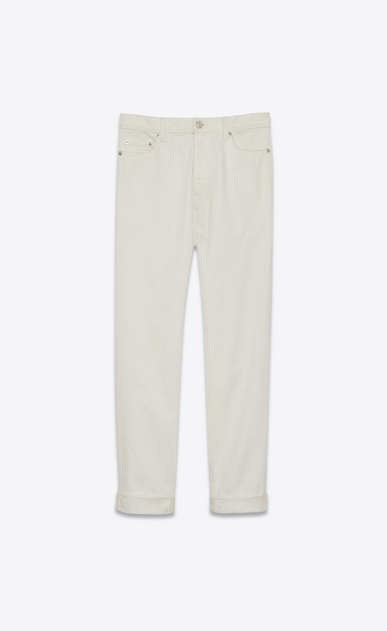 SAINT LAURENT Baggy D Baggy worn-look jeans in white denim a_V4