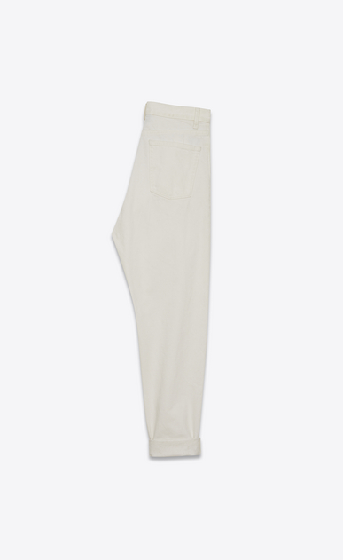 SAINT LAURENT Baggy Woman Baggy worn-look jeans in white denim b_V4