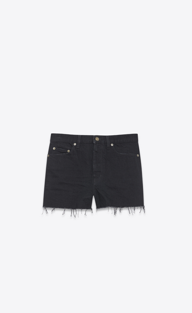 SAINT LAURENT Pantalons courts Femme Short baggy en denim noir a_V4
