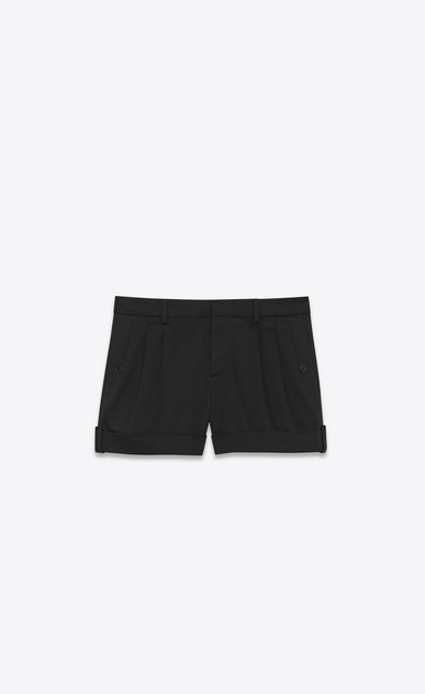 SAINT LAURENT Short Trousers Woman Shorts in black cotton serge a_V4
