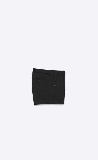 SAINT LAURENT Short Trousers Woman Shorts in black cotton serge b_V4