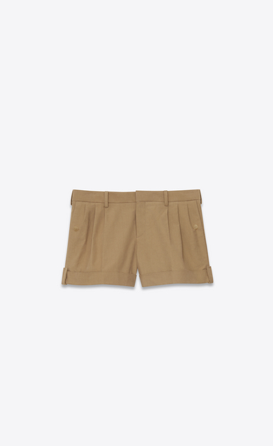 SAINT LAURENT Short Trousers Woman Shorts in beige stretch cotton a_V4