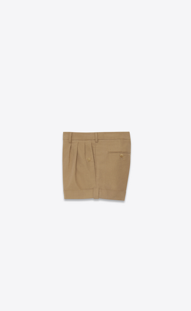 SAINT LAURENT Short Trousers Woman Shorts in beige stretch cotton b_V4