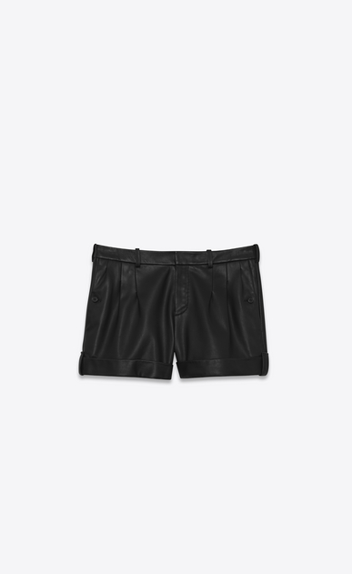 SAINT LAURENT Short Trousers Woman Black leather shorts a_V4