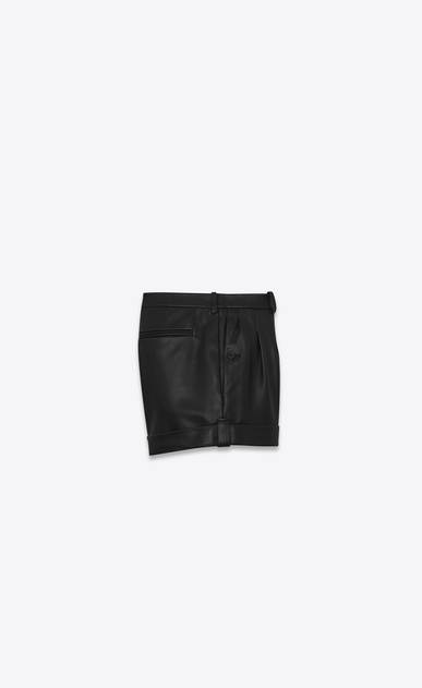 SAINT LAURENT Short Trousers Woman Black leather shorts b_V4