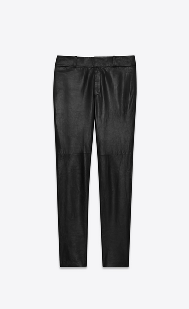 SAINT LAURENT Leather pants Woman Tailor pants in black nappa leather a_V4