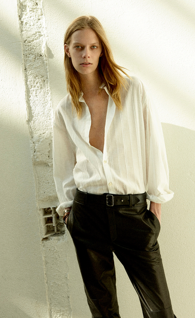 SAINT LAURENT Leather pants Woman Tailor pants in black nappa leather x_V4