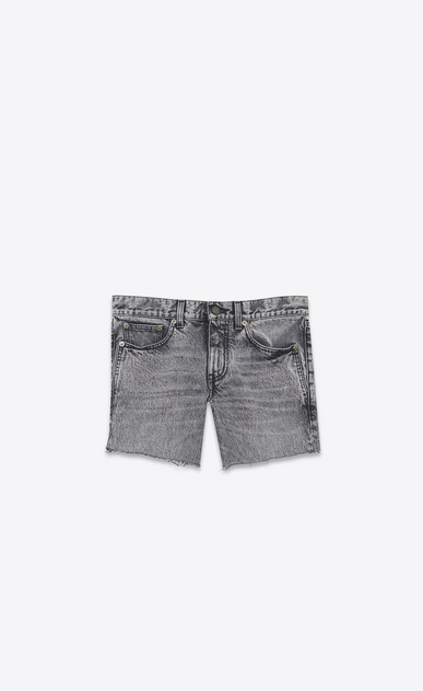 SAINT LAURENT Short Trousers Woman Low-rise shorts in faded black denim a_V4