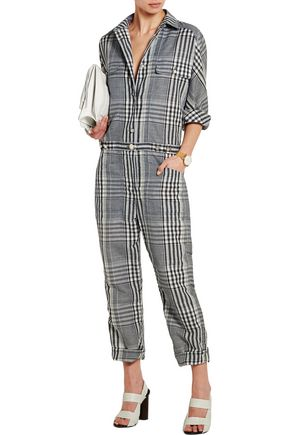 TEMPERLEY LONDON Checked linen and cotton-blend jumpsuit