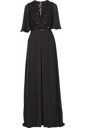 ELIE SAAB Embellished tulle-paneled silk-chiffon jumpsuit ...