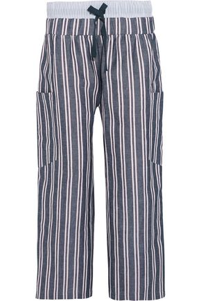 SUNO Striped woven linen and cotton-blend wide-leg pants