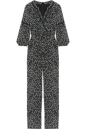 ANNA SUI Lace-trimmed floral-print silk-chiffon jumpsuit