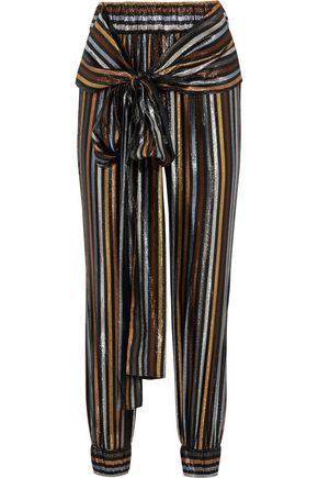 HANEY Colette metallic striped silk-blend lamé tapered pants