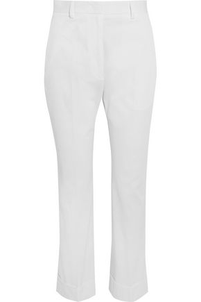 JIL SANDER Cropped stretch-cotton twill skinny pants