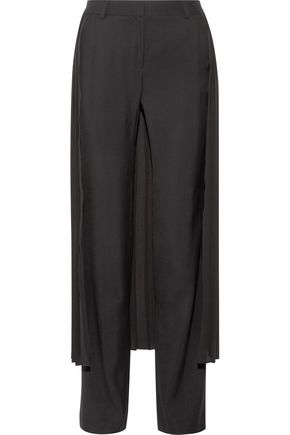 ADAM LIPPES Chiffon-paneled crepe wide-leg pants