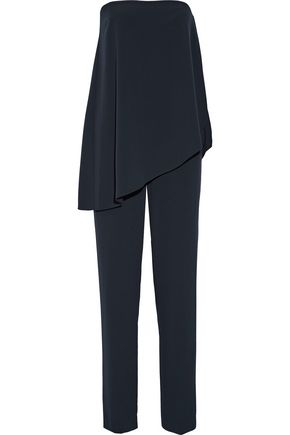 HALSTON HERITAGE Draped stretch-crepe jumpsuit