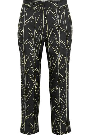 PROENZA SCHOULER Cropped printed silk-twill straight-leg pants