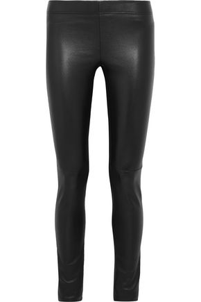 JOSEPH Leather-paneled stretch-jersey leggings