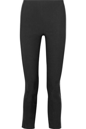 RAG & BONE Dani leather-paneled cotton-blend slim-leg pants