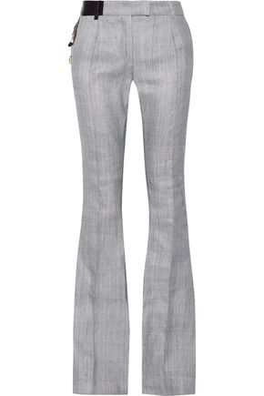 RONALD VAN DER KEMP Embellished leather-trimmed  cotton flared pants