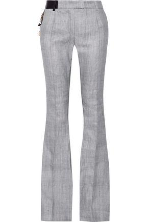 RONALD VAN DER KEMP Embellished leather-trimmed  cotton bootcut pants