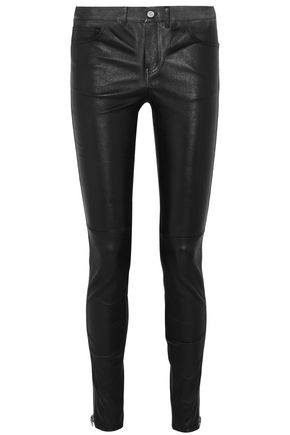 SAINT LAURENT Zip-detailed leather skinny pants