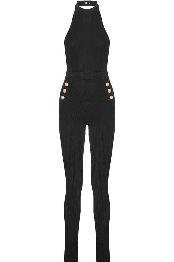 8b79ecc7cb7 Ribbed stretch-knit halterneck jumpsuit