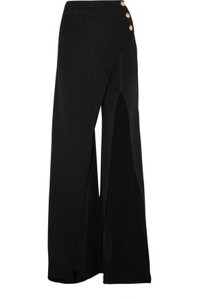 BALMAIN Embellished stretch-knit flared pants