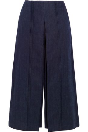 ZEUS + DIONE Pleiades pleated linen-chambray culottes