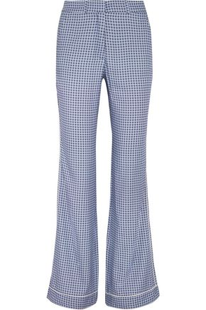 PAUL & JOE Satin-trimmed printed crepe straight-leg pants