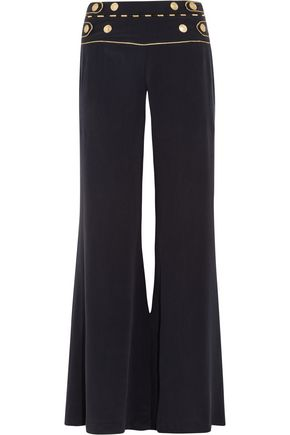 PIERRE BALMAIN Button-detailed silk-crepe wide-leg pants