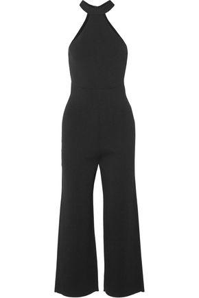 ROLAND MOURET Linnel cropped stretch-cady halterneck jumpsuit