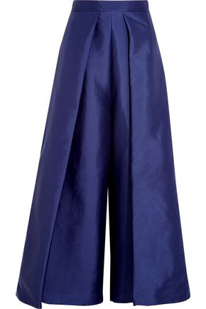 SOLACE LONDON Aria cropped charmeuse wide-leg pants