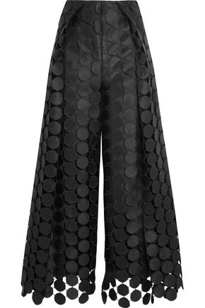 SOLACE LONDON Hallie embroidered cutout faille wide-leg pants