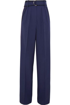 ROKSANDA Belted pleated wool and silk-blend wide-leg pants