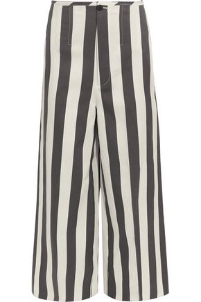 JOSEPH Brodie cropped striped cotton and silk-blend wide-leg pants