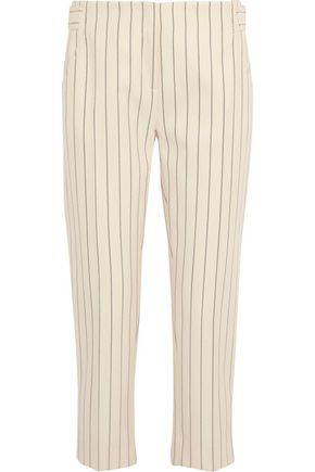 VICTORIA, VICTORIA BECKHAM Striped wool and cotton-blend tapered pants