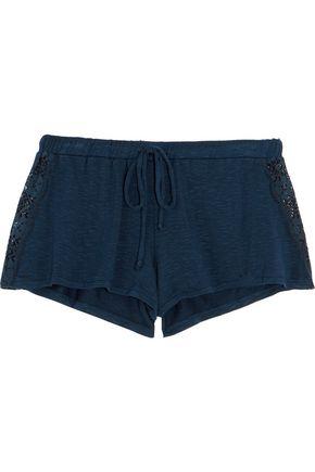 EBERJEY Cara lace-paneled slub stretch-jersey pajama shorts