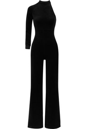VETEMENTS + Juicy Couture one-shoulder cotton-blend velour jumpsuit