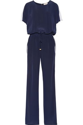 TORY BURCH Striped silk crepe de chine jumpsuit