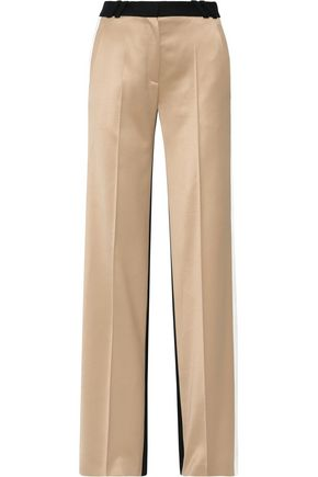 PALLAS Aspen paneled satin and wool wide-leg pants