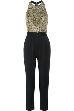 ALICE + OLIVIA Jeri embellished tulle and hammered-satin jumpsuit