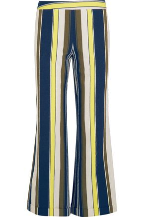 ZEUS + DIONE Rhodia cropped striped slub silk wide-leg pants