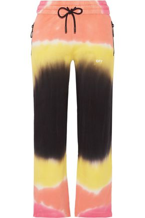 OFF-WHITE™ Printed tie-dyed French cotton-terry track pants