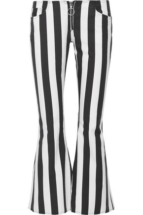 MARQUES ALMEIDA Cropped striped cotton-poplin flared pants