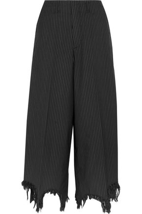 FACETASM Distressed pinstriped wool and silk-blend wide-leg pants