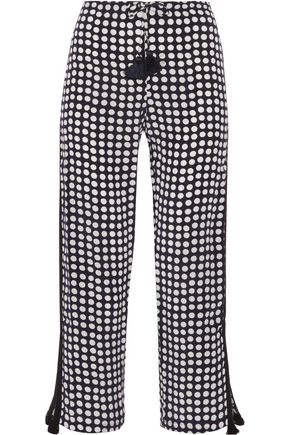 FIGUE Cova polka-dot silk crepe de chine straight-leg pants