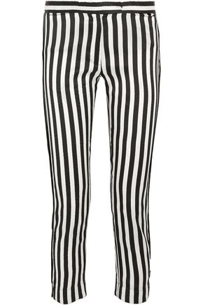ANN DEMEULEMEESTER Cropped striped satin-twill slim-leg pants