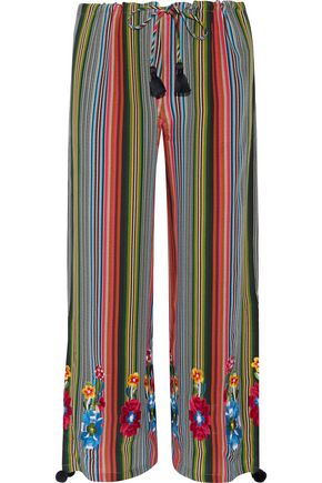 FIGUE Goa embroidered striped silk-georgette wide-leg pants